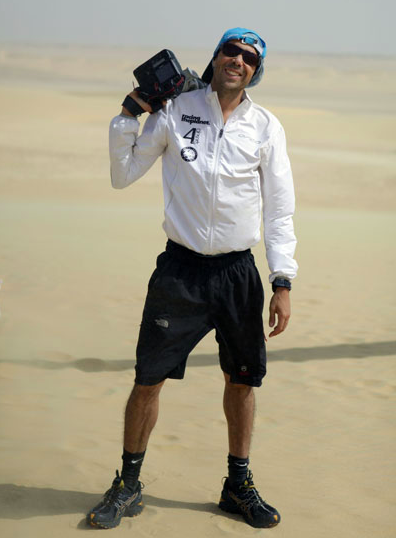 Warm at last! 125 degrees Farenheit. Shooting for Racing The Planet in the Sahara Desert, Egypt, 2011.