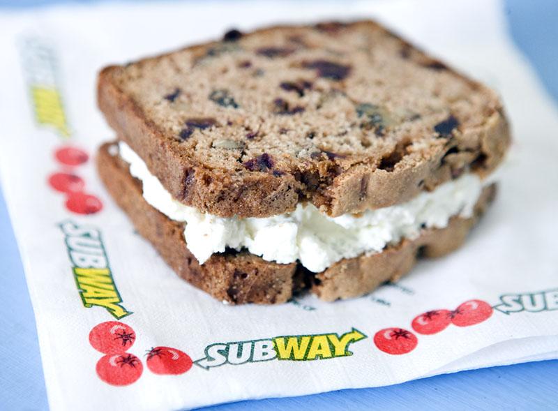 Datebread and Creamcheese SUBWAY Sandwich. Photo by Zandy Mangold © 2009