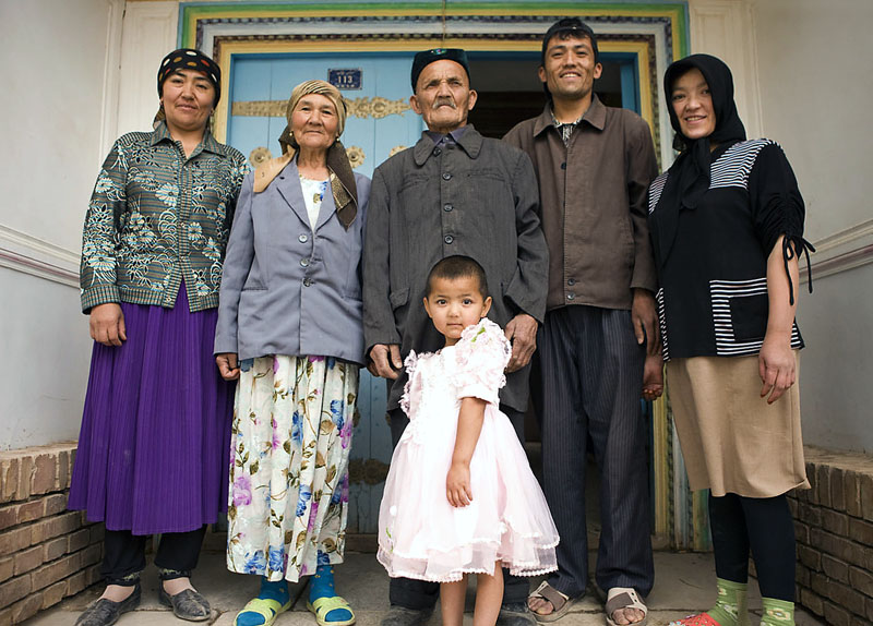Uighur Family in China's Xinjiang Province