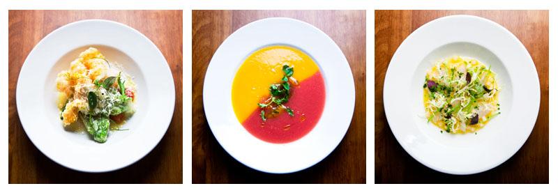 Zucchini Flowers, Tomato Soup and Fluke. Photos by Zandy Mangold. © 2009