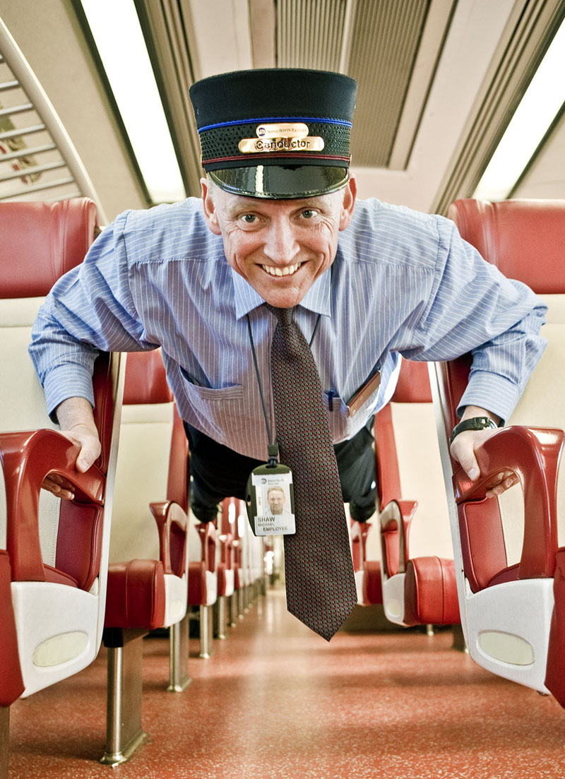 Mike Shaw, Metro North, Conductor, staying in shape. Photo By Zandy Mangold. ©2013