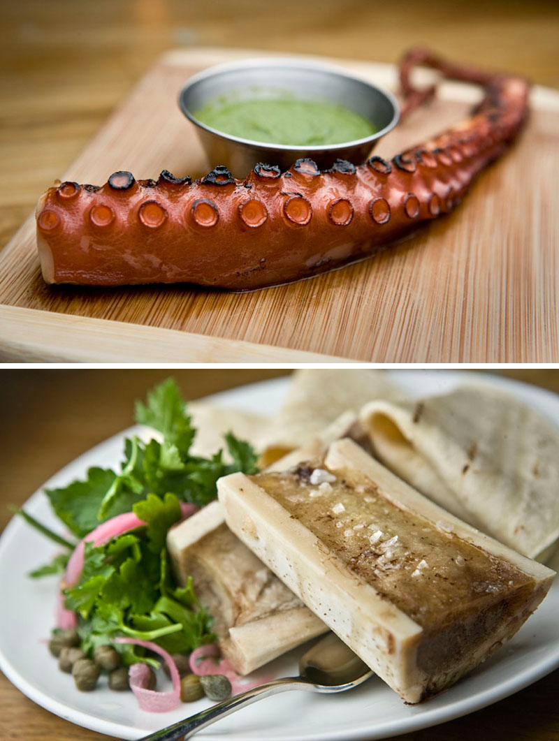 Lulu & Po, Grilled Octopus and Salted Bone Marrow, Brooklyn, NY. Photos By Zandy Mangold. © 2014